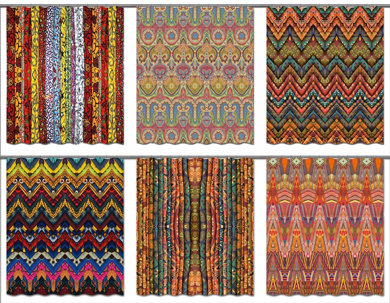 Boho Shower Curtain Bohemian Bathroom Decor Gypsy Fabric   Etsy