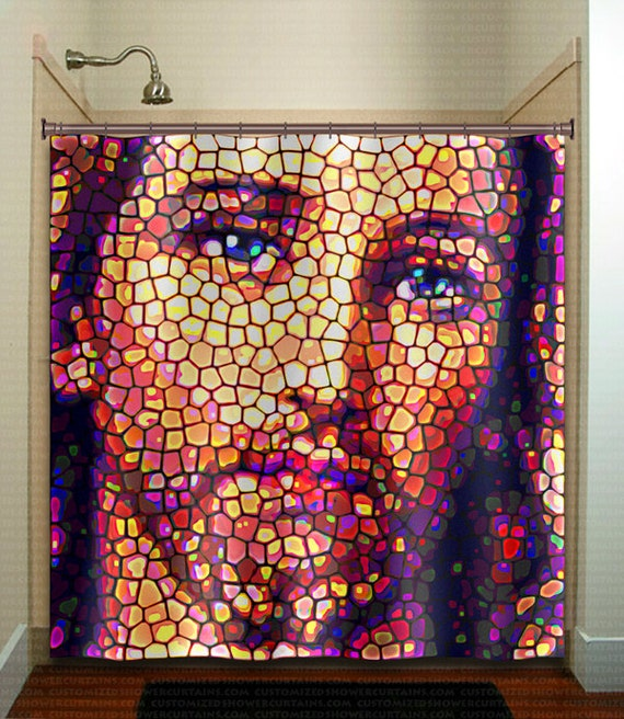 Stained Glass Jesus Christ Shower Curtain Kids Bathroom Decor