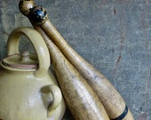 Antique Wooden Barbell Dumbbell Weights Exercise Juggling Pin Rustic Gym Equipment Tools One Pound