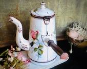 Antique French Enamel Coffee Chocolate Pot Roses Enamelware Coffeepot Graniteware