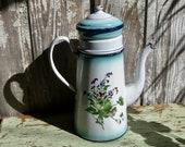 Large antique enamel French coffee pot enamelware hand painted violets coffeepot graniteware biggin