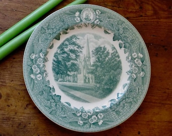 Vintage Green Plate, Dinner or Serving Charger, Souvenir, Wall Display, Wesleyan Memorial Dish, Advertising, Flowers Ivy, Holiday Decor