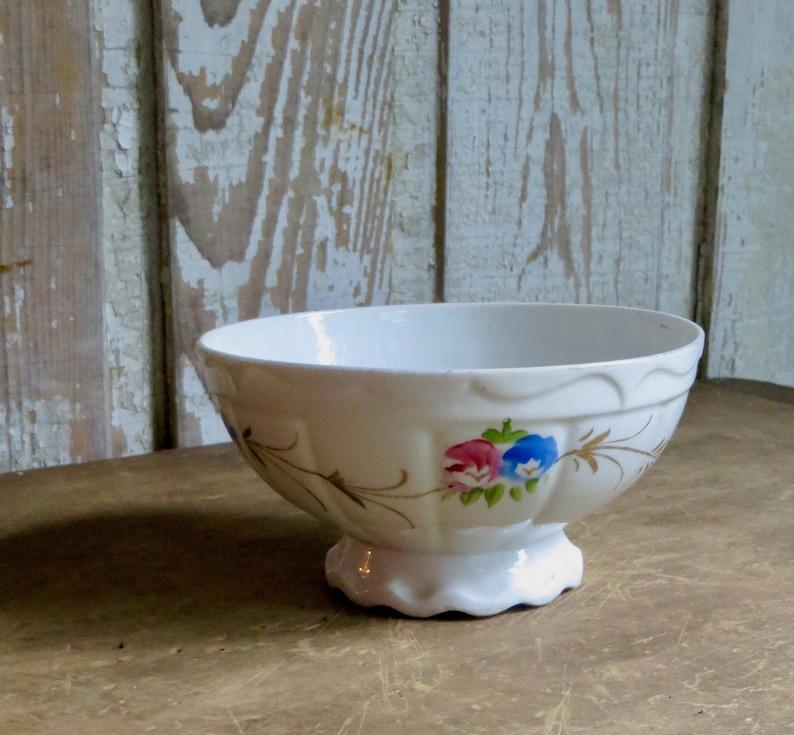 French Cafe Au Lait Bowl   Vintage Porcelain Dish Hand Painted Pink And  Blue Flowers   Coffee   Paris Flea Market   Farmhouse Kitchen Decor
