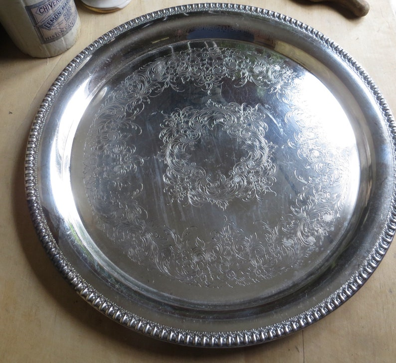 Vintage Silver Serving Tray Silverplate Party Platter Cocktails Champagne Wedding