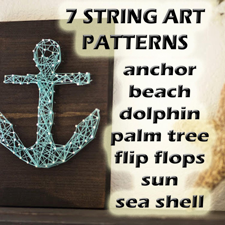 STRING Art Muster 7 Vorlagen Strand Palme Flip Flops