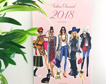2018 Calendar,Wall Calender,Fashion Illustration,Fashion illustration Calendar,Fashion Calendar,Fashion art, Illustration Calendar