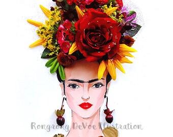 Frida Kahlo Painting, Frida Poster, Frida illustration, Wall Art, Wall Decor