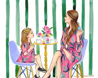 Mother's day illustration,Mom and daughter wall art, Mother's day gift, fashion mom and daughter, Titled,Time together