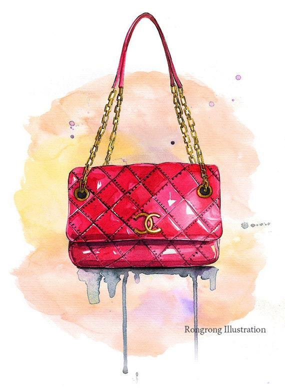 Articles similaires à Fashion illustration sac chanel, Chanel inspred  d art, art pariétal Fashion, Watercolor art, sticker Girly, cadeau pour  elle, ... f1db98e3bb8