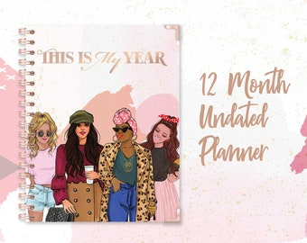 Undated Planner-(2021 Planner, Weekly & Monthly Layout, Fashion Illustration, 12 Month Planner)