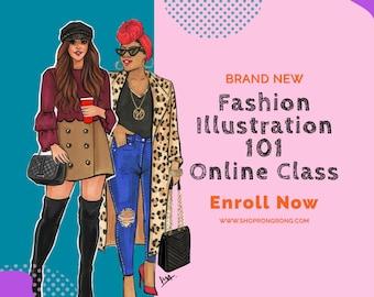 Fashion Illustration online workshop(2020 Version), Fashion Sketch online tutorial, Fashion Drawing Online Class