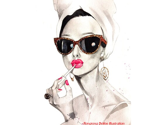 audrey hepburn art print fashion illustration celebertiy