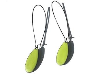 Bitter Green Small Teardrop Enamel Earrings