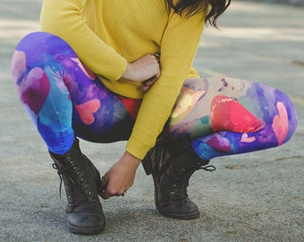 Colorful Workout Pants Hot Yoga Pants Summer Festival Clothing Women Hippie Festival Burning Man Psychedelic Leggings Rainbow Leggings