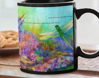 Black Mug with Spiritual Dragonfly Art, 11oz Coffee Mug, Inspirational Gift, Floral Mug for Her, Gift for Survivor, Rumi Positive Quote Mug