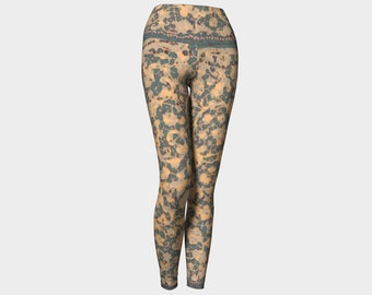 e931d5a9a127b9 Vintage Lace Yoga Pants, Sexy Yoga Pants for Women, Gray and Beige Lace  Leggings, Feminine Festival Pants, Printed Yoga Tights for Workout