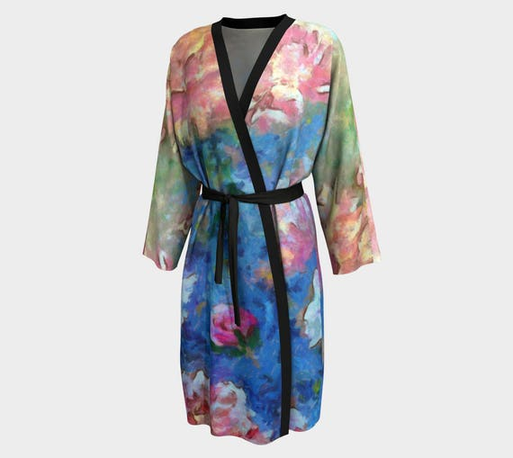9f142139aa Dreams of Love Roses Peonies Kimono Pink Flowers Robe Wedding