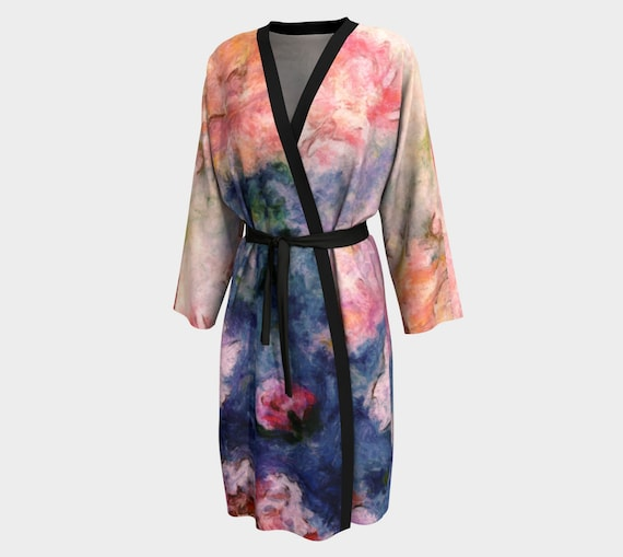 Robe with Painted Peony Rainbow Print  Painted Peony Rainbow  Gifts for Mom