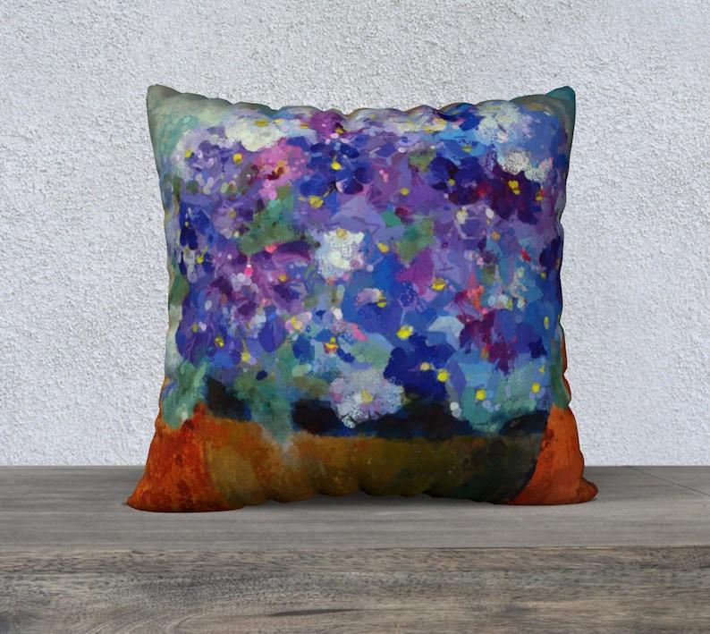 Violet Blue Purple Throw Pillow Decorative Floral Pillow for image 0