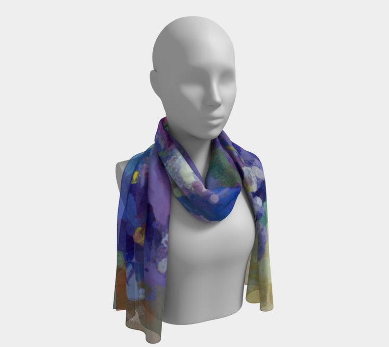 Long Silky Scarf with Violets Pansies Forget-Me-Not Flowers image 0
