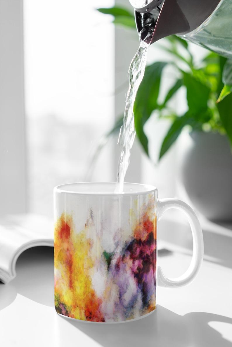 Abstract Art Floral Mug for Coffee Tea Hot Chocolate Gift for image 0