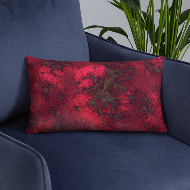 Crimson Red Throw Pillow with Insert Floral Blossoms image 0