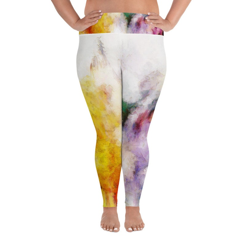 Plus Size Leggings with Tie Dye Abstract Art Rainbow All-Over image 0