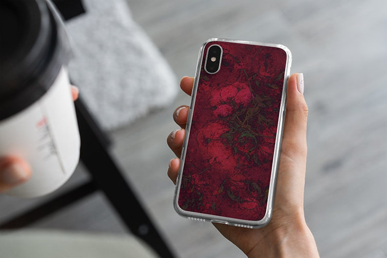 Crimson Red Blossoms Clear Phone Case Red Christmas Floral image 0