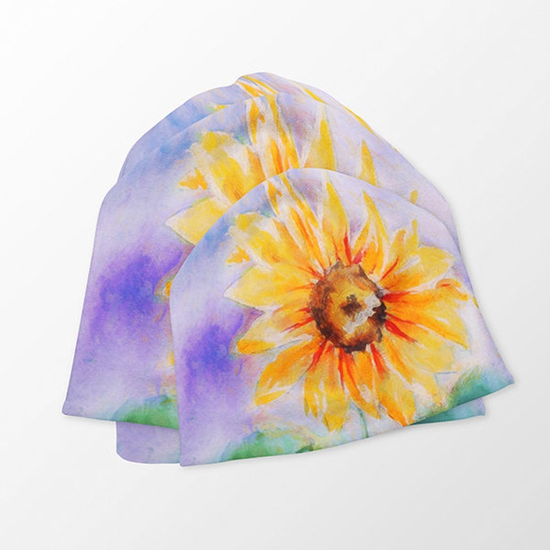 Parties Skating Beach Trip Ecofriendly Fabric Short Skater Skirt with Sunflower Painting in Vibrant Colors with Leaves and Purple Shades