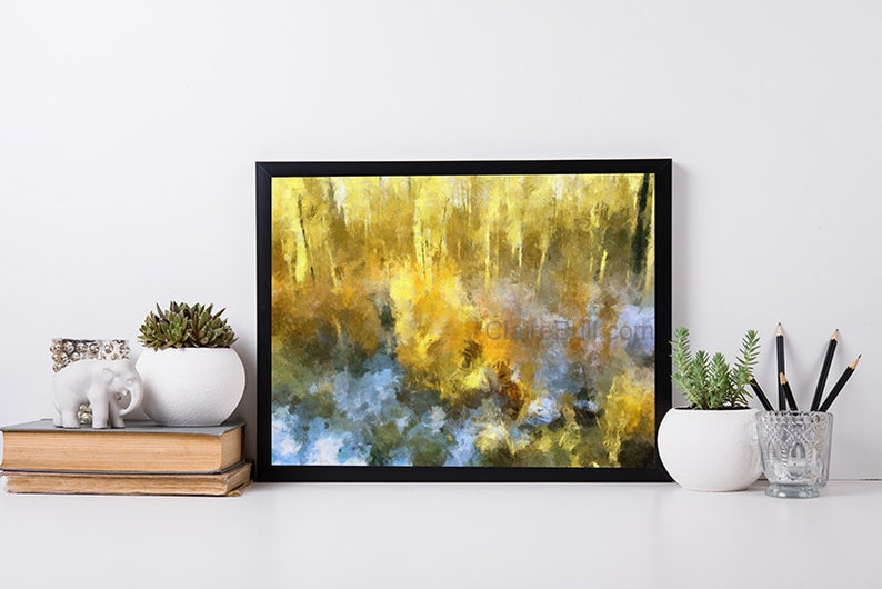 Autumn Gold Art Print Fall Landscape Art with Woods Golden image 0