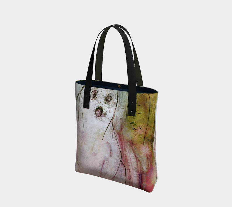 Ghost 22 Pink and Green Canvas Tote Bag or Simple Canvas image 0