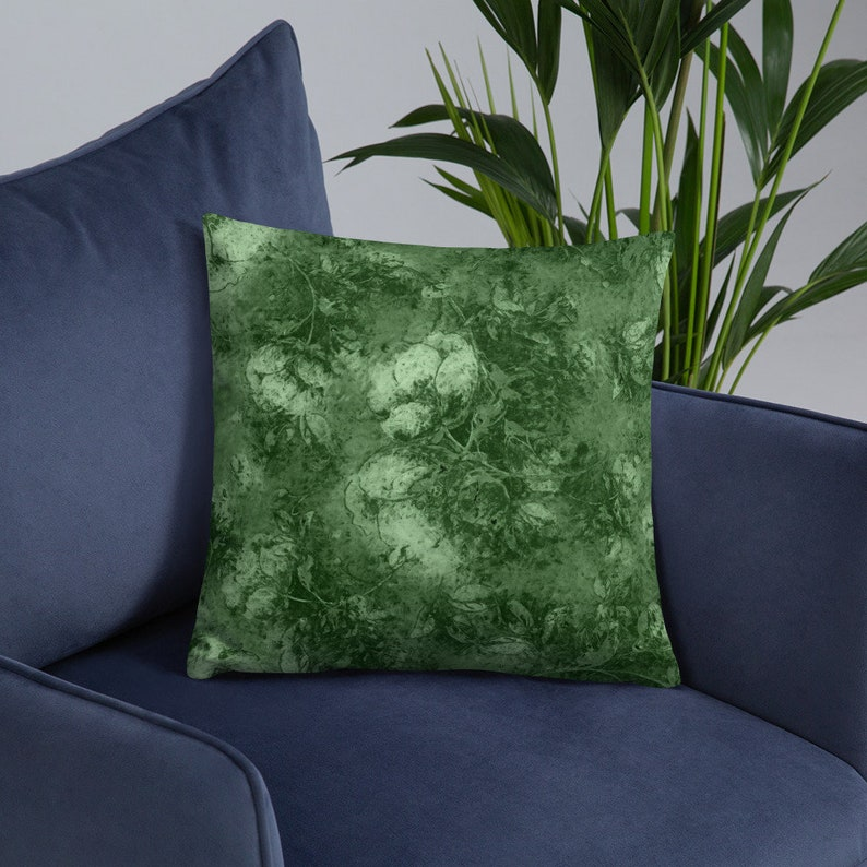 Olive Green Sage Floral Throw Pillow 18 x 18 inch Decorative image 0