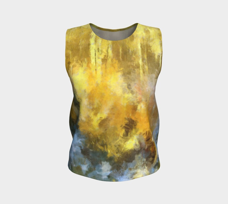 Autumn Gold Yoga Top Sleeveless Blouse Relaxed Fit with image 0