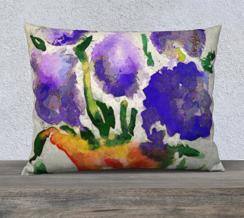 Dorm Room Bed Pillow with Watercolor Art 26 x 20 Pillow image 0