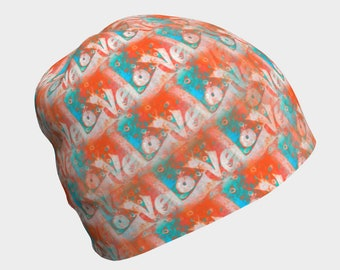 Beanie Hat with Love Pattern, Orange Teal Hat, Kids School Hat, Soft Slouchy Hat, Chemo Cap, Unisex Cancer Beanie, Thinking of You Gift Idea