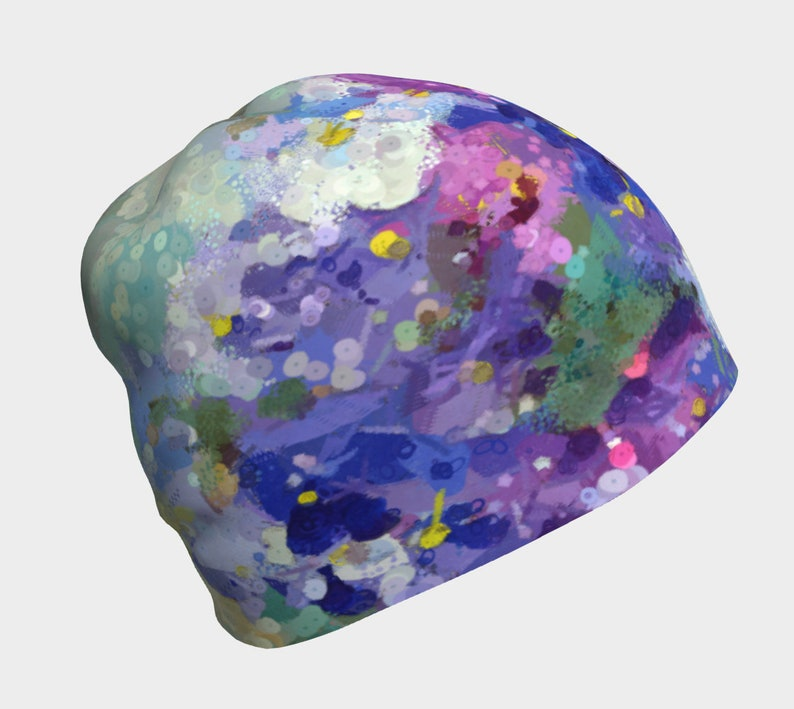Floral Chemo Hat for Women Beanie Hat with Violets Purple image 0
