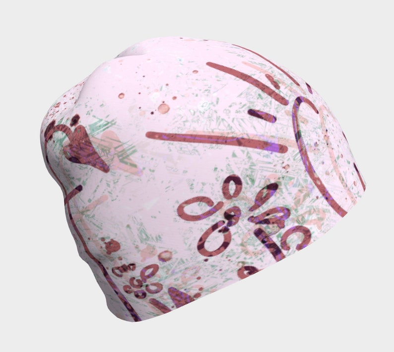 F Cancer Pink Breast Cancer Beanie Hat with Green Gray Colors image 0