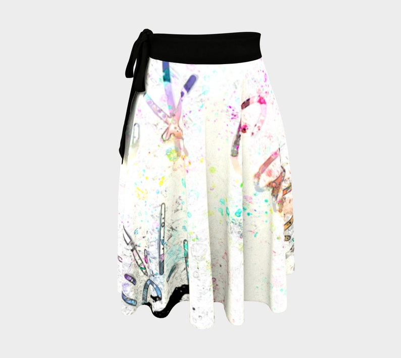 F Cancer Spectrum of Colors on a Cream White Wrap Skirt Black image 0