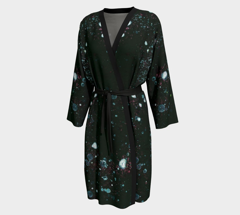 Unisex Dark Goth Robe with Gray Rose Teal Splashes Knee image 0
