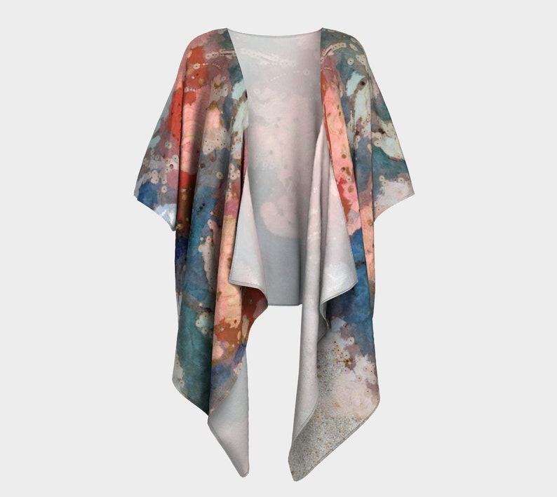 Draped Kimono Jacket with Pink Roses on Teal Gray Blue image 0