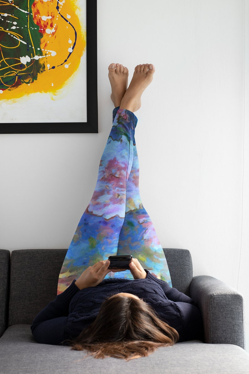 Workout Tights with Peony Flowers in Soft Pink and Blue Handpainted Art Floral Yoga Leggings Fitness Leggings Floral Women/'s Dance Pant