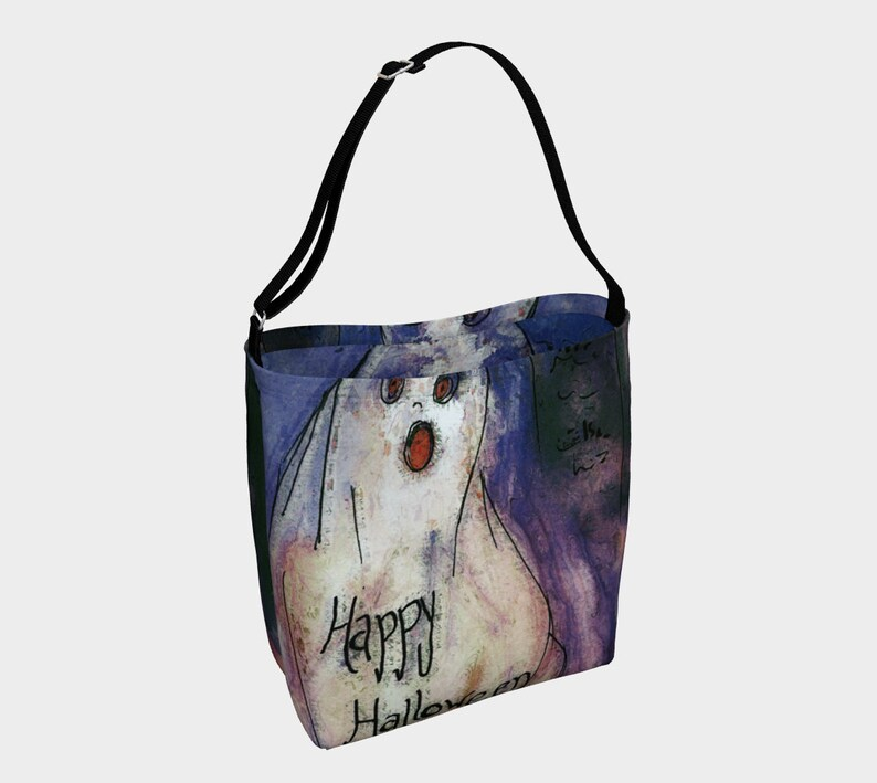 Halloween Ghost Tote Bag Stretchy Happy Halloween Bag image 0