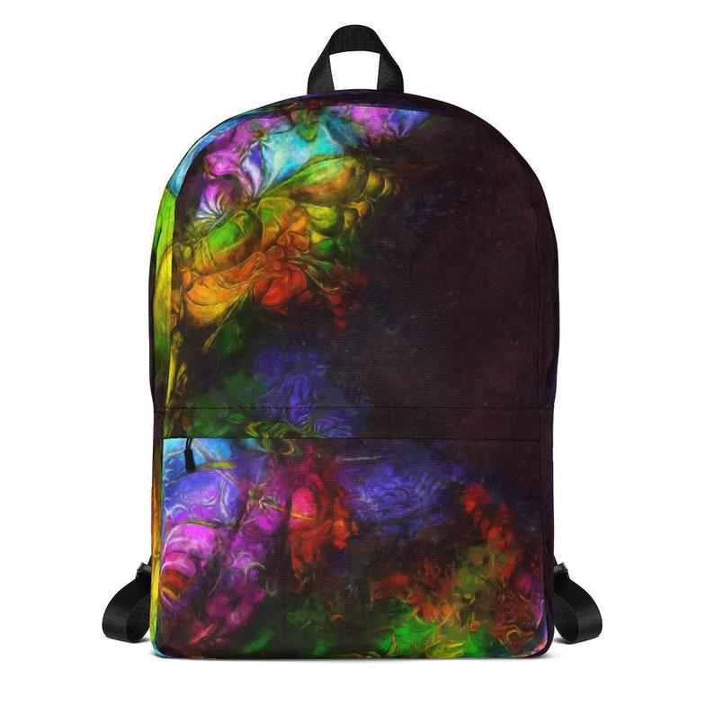 Backpack with Rainbow Art Zipper Pockets Laptop Pocket Back image 0
