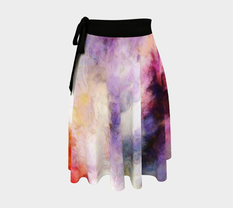 Ballet Skirt Abstract Floral Wrap Skirt Yellow Purple Blue image 0