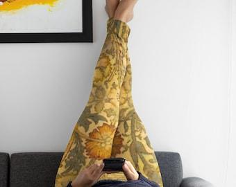 Yoga Pants for Women, Lounge Wear Leggings, Botanical Art, Fitness Tights, Marigold Flowers, Workout Clothing, Plus Size, Designer Fashion