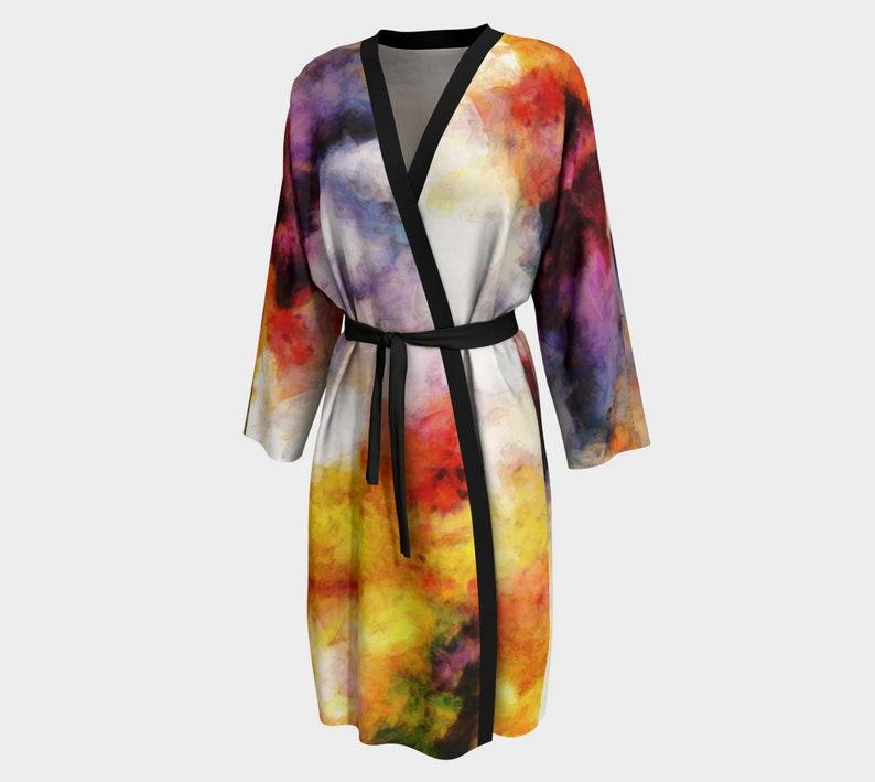 Tie Dye Kimono Robe in Unisex Design with Swirls of Color image 0