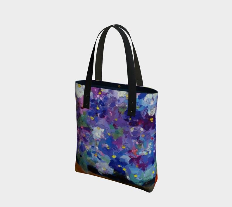 Violets Canvas Tote or Lined Shoulder Purse Floral Tote Bag image 0