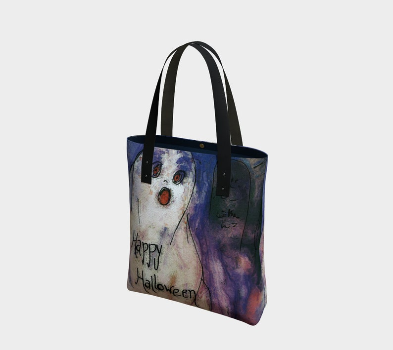 Happy Halloween Ghost Canvas Tote Bag or Lined PurseHalloween image 0