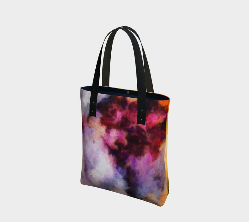 Simple Canvas Tote with Abstract Art or Navy Blue Sateen Lined image 0
