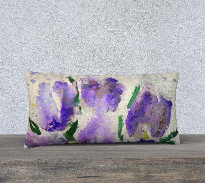 Purple Lavender Lumbar Pillow 12 x 24 inch Linen Pillow image 0